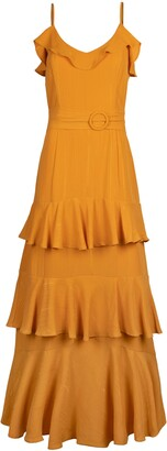 Rachel Roy Metallic Ruffle Tiered Midi Dress