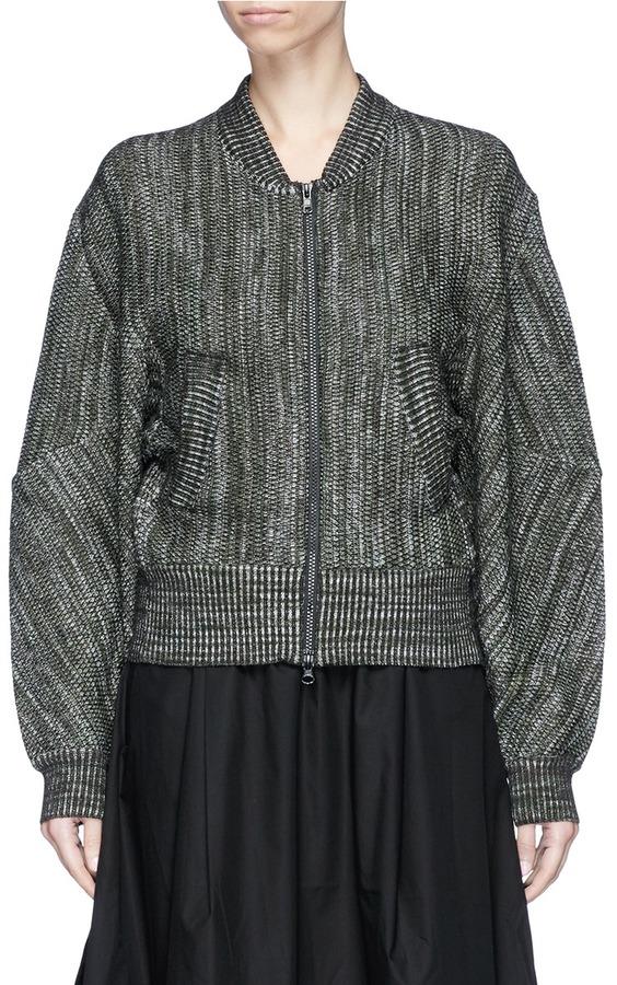 Y-3 3-Stripes wool blend knit jacket