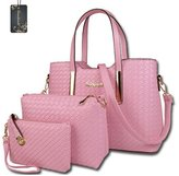 Donaword Women Retro Weave Office Pueather Handbag Set
