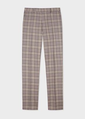 Men's Slim-Fit Dusky Pink Plaid Check Wool Trousers