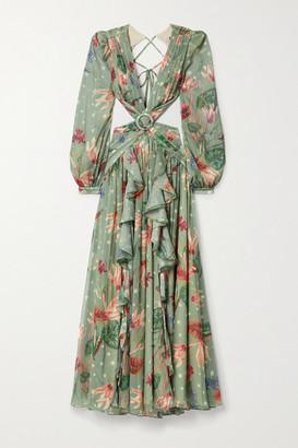 PatBO Sophia Cutout Embellished Ruffled Floral-print Chiffon Maxi Dress - Mint
