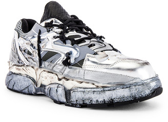 Maison Margiela Fusion Low Top in White & Black & Silver | FWRD
