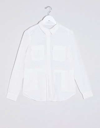 Vila jacket with broderie detail in white
