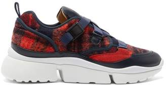 Chloé Sonnie Raised-sole Felt And Leather Trainers - Womens - Red Multi