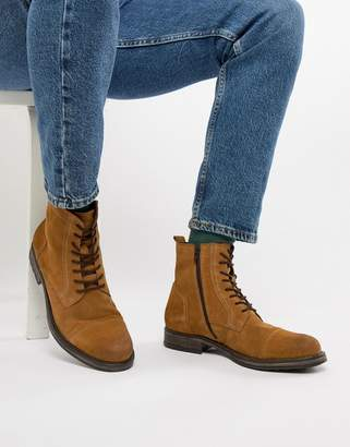 Jack and Jones suede lace up boot in tan