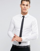 Asos Skinny Shirt In White With Black Tie SAVE