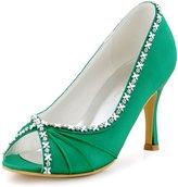 ElegantPark EP2094AF Women Pumps Peep Toe High Heel Removable shoe clips Rose Rhinestones Satin Wedding Shoes Navy Blue US 7