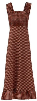Ganni Shirred-bodice Gingham-seersucker Maxi Dress - Black Red