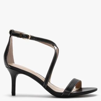 Lauren Ralph Lauren Leaton Black Leather Cross Strap Sandals