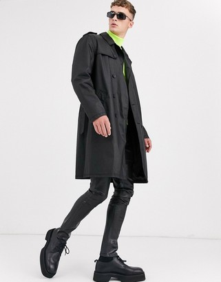 ASOS DESIGN double breasted trench coat in black faux leather