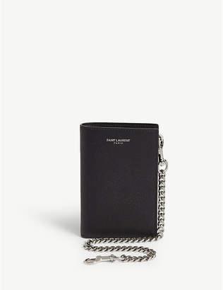 Saint Laurent Pebbled leather wallet on chain