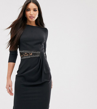 Little Mistress Tall long sleeve waist detail shift dress-Black
