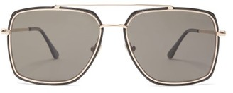 Tom Ford Aviator Metal And Acetate Sunglasses - Mens - Black