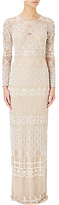 Adrianna Papell Illusion Long Sleeve Beaded Gown, Ivory/Nude