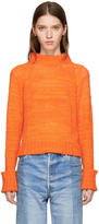 The Elder Statesman Orange Cashmere Cropped Mock Neck Sweater