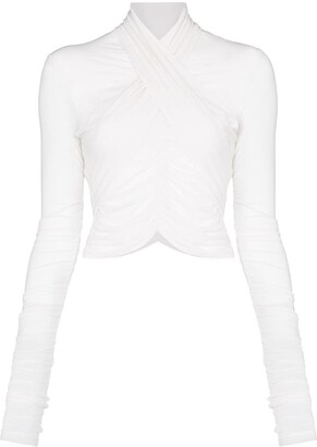Unravel Project Wrap-Front Sheer Blouse