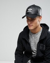Adidas Originals Trefoil Cap In Black Faux Leather Bk6967