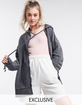 Collusion acid wash asymmetric longline hoodie in grey