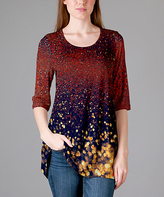 Lily Red & Blue Abstract Scoop Neck Tunic - Plus Too