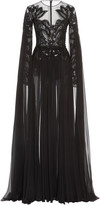 ZUHAIR MURAD Pamplona Cape-Effect Embroidered Silk-Chiffon Gown