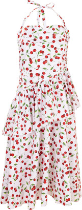 Michael Kors Cherry Print Ruched Peplum Halter Dress
