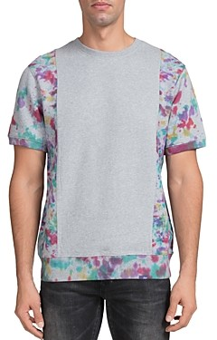 PRPS Nixa Watercolor Color-Block Short-Sleeve Sweatshirt