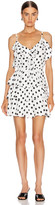 Icons Objects Of Devotion Objects of Devotion Ruffle Stacked Mini Dress in White & Black Polka Dot | FWRD