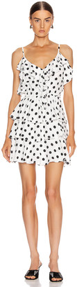 ICONS Objects of Devotion Ruffle Stacked Mini Dress in White & Black Polka Dot | FWRD