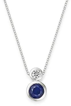 Bloomingdale's Blue Sapphire & Diamond Bezel Set Pendant Necklace in 14K White Gold, 18 - 100% Exclusive