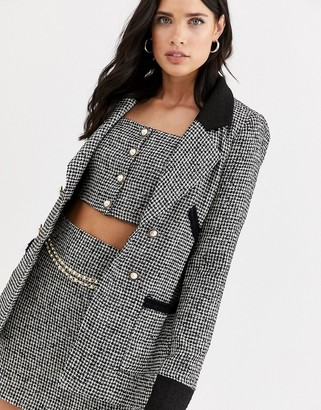Fashion Union boucle tailored blazer two-piece with contrast collar and cuff