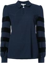 Oscar de la Renta velvet striping longsleeved blouse