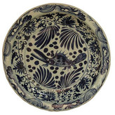 "One Kings Lane 16"" Floral Fish Decorative Plate - Blue/Ivory"