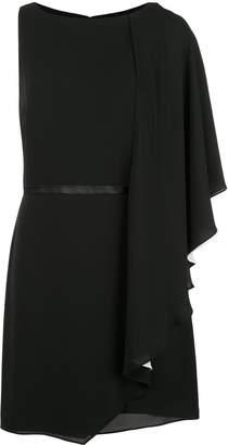 Halston asymmetric frilled mini dress