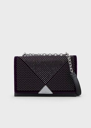 Emporio Armani Vachetta Leather And Velvet Shoulder Bag With Studs