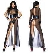 LAFIZZLE Sexy Lingerie Plus Size S- 2XL Pvc Latex Bodysuit Crotchless Chemise Nightwear (S)