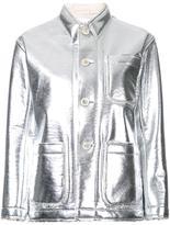 Julien David stitch detail fitted jacket - women - Polyester/Aluminium - S