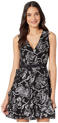 Rebecca Taylor Sleeveless Lurex Clip Dress (Black/Silver) Women's Dress