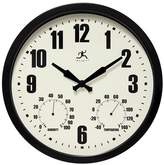 "Infinity Instruments Time and Weather Outdoor Clock - 14""D - Black"