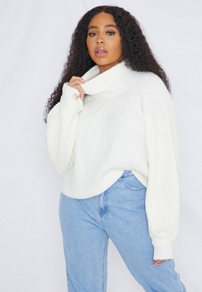 Missguided Plus Size White Roll Neck Tuck Sleeve Jumper