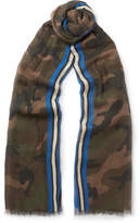 Valentino Camouflage-Print Modal, Cashmere and Silk-Blend Scarf