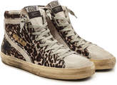 Golden Goose Deluxe Brand Slide High-Top Sneakers with Leather and Calf Hair