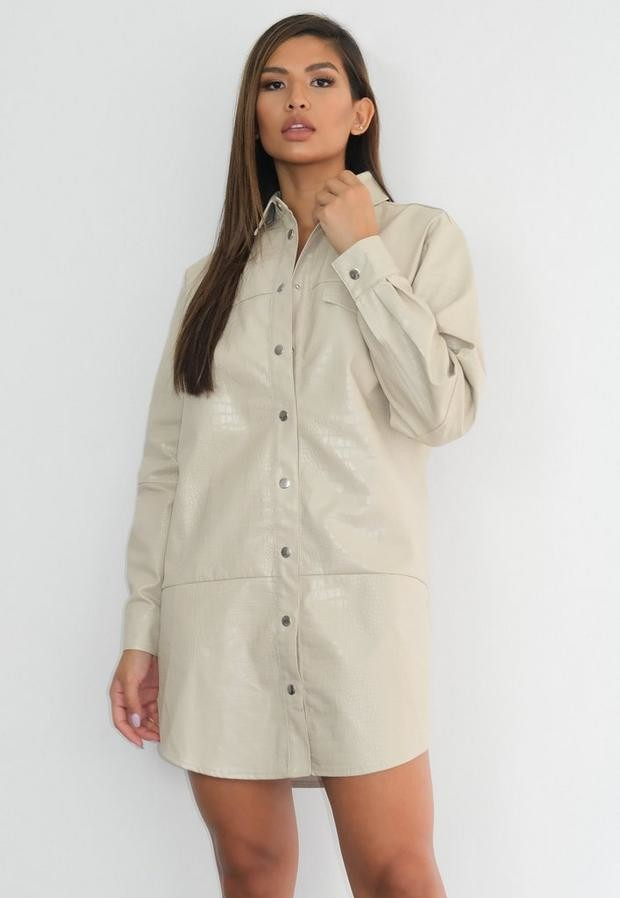 Missguided Stone Faux Leather Croc Oversized Shirt Dress