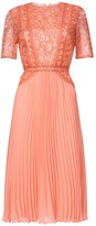 True Decadence Peach Lace Midi Dress Pleated Skater Skirt