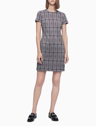 Calvin Klein Plaid Short Sleeve Dress