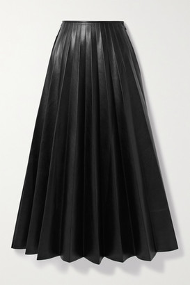 Peter Do Paneled Pleated Vegan Leather And Satin-crepe Maxi Skirt - Black