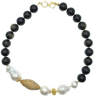 Farra Black Tiger Eye With Baroque Pearl Short Necklace