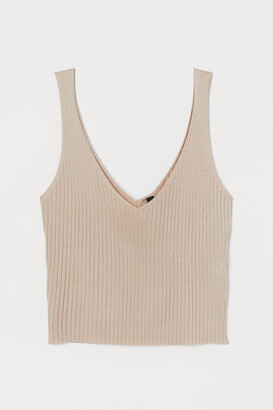 H&M Ribbed Camisole Top - Beige