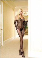 Leg Avenue Women's-Size Size Mini Daisy Lace Bodystocking with Lace Up Back