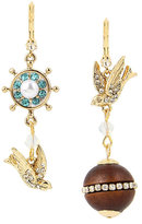 Betsey Johnson Anchors Away Bird Mismatch Earrings