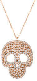 Sphera Milano Chunky Cubic Zirconia Skull Pendant Necklace, Rose